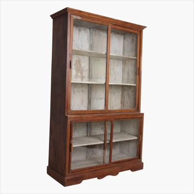 Teak XL shop vitrine 4 sliding doors