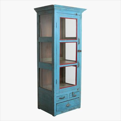 Blue tall vitrine + mollding 1 - door + 3 x drawer