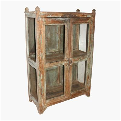 Green 3-sides glass cabinet & pointed top