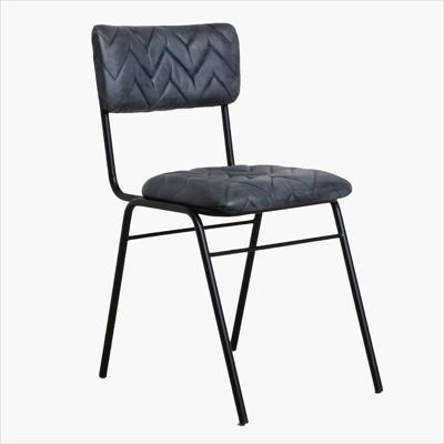 Leather chair chevron pattern ebony
