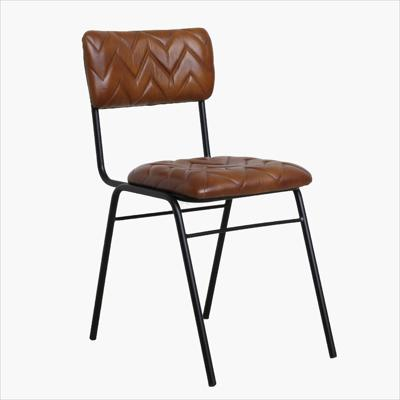 Leather chair chevron pattern light brown