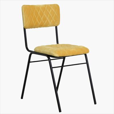 Velvet chair diamond pattern yellow