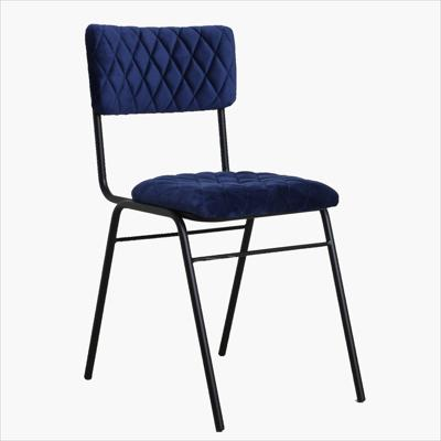 Velvet chair diamond pattern dark blue