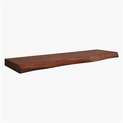 Acaciawood curved wall shelf 80 cm