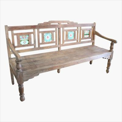 Natural teak station bench with tiles