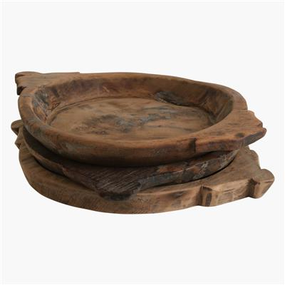 Flat bowl with ears natural medium