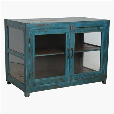 Blue sideboard 3 sides glass