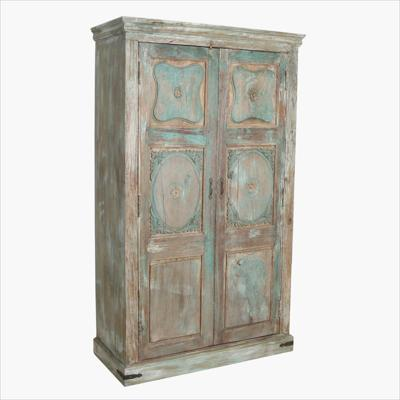 Blue & green carved panels cabinet