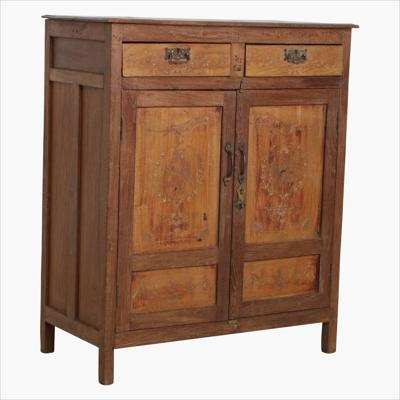 Double teak carved 2 door cabinet