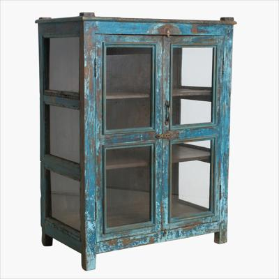 Double blue teak 2 door cabinet