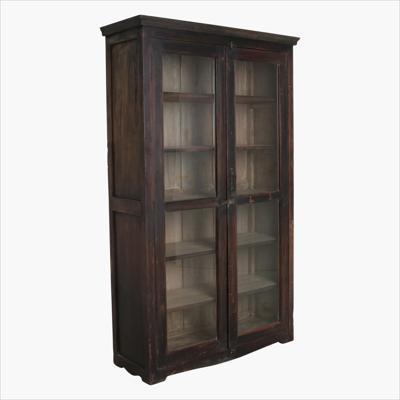 Black 2 door teak  glass cabinet + molding