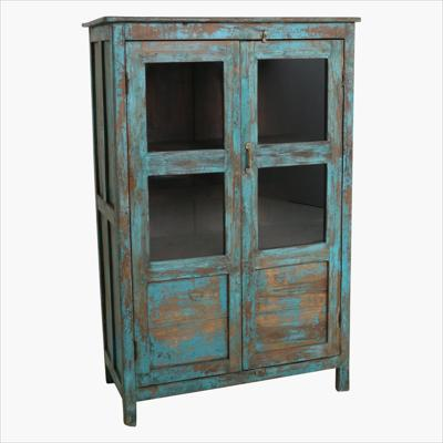 Blue teak 2-door glass cabinet