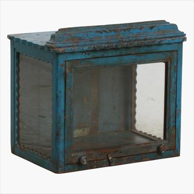 Blue patina carved showcase