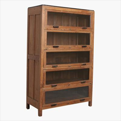 English style library teak cabinet 5x glass door