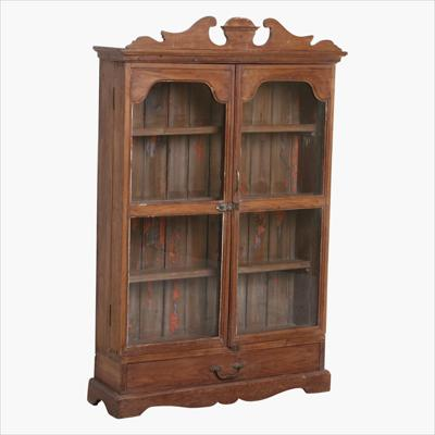 Brown 2 door vitrine with carved top