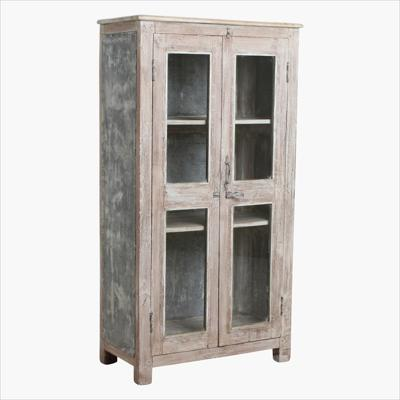 Teak cream 2 door glass cabinet + metal sides