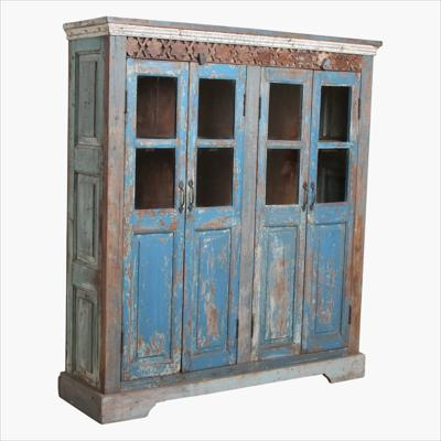 Blue panel 4 door cabinet with carvings