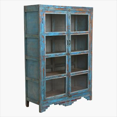 Blue 2 door glass cabinet + metal back