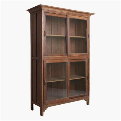 XL teak 4 door vitrine + moulding