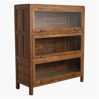 Recycled teak library 3x revolving doors cabinet