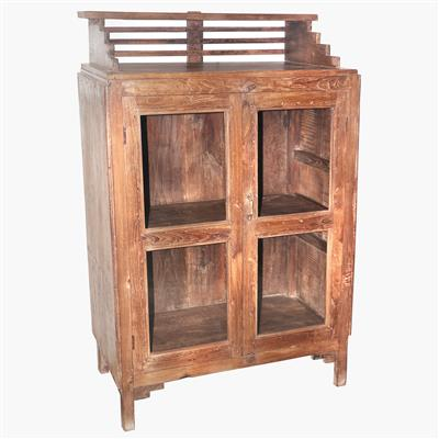 Teak 2 door glass cabinet + lattice top