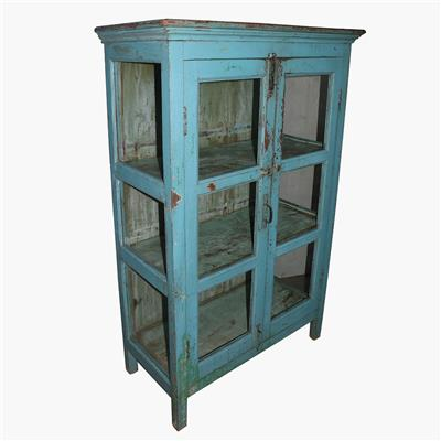 Blue 3x glass cabinet + moulding