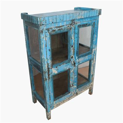 Blue & white 3 sides glass cabinet