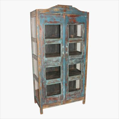 Blue 3-sides glass cabinet