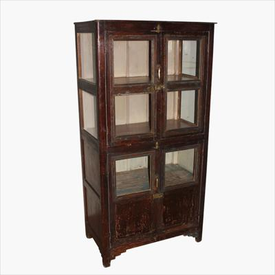 Patina teak tall 4-door cabinet
