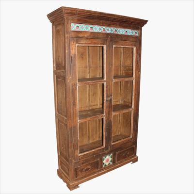 Patina teak 2-door cabinet with moulding & tiles