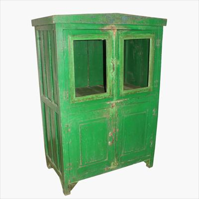 Green 4-door cabinet with old patina and cable