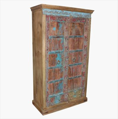 Red & blue full carved old door cabinet