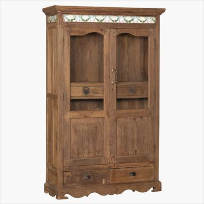 Teak 2 glass door + 4 drw.cabinet & tiles