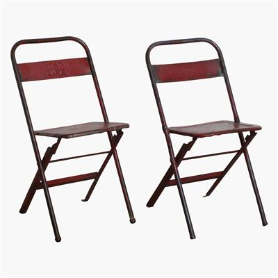 Iron folding bistro chair red