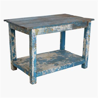 White & blue factory table