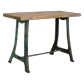 Industrial console + green cast iron frame